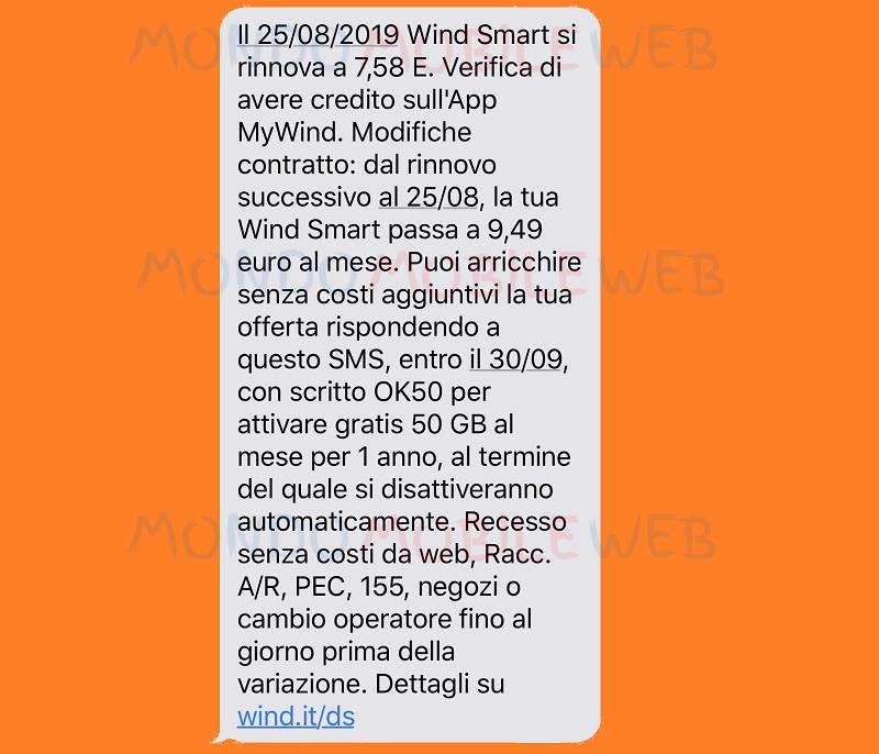 Wind Smart rimodulazione SMS Noi Tutti 25 Agosto 2019