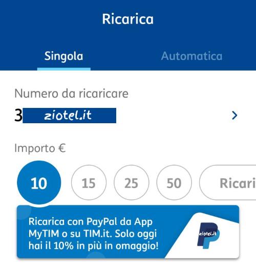 Ricarica TIM 10% PayPal