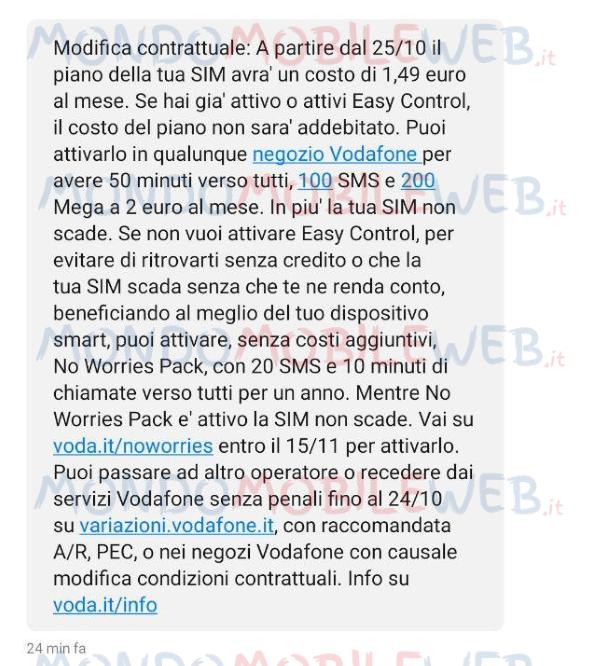 Rimodulazione Sms Vodafone