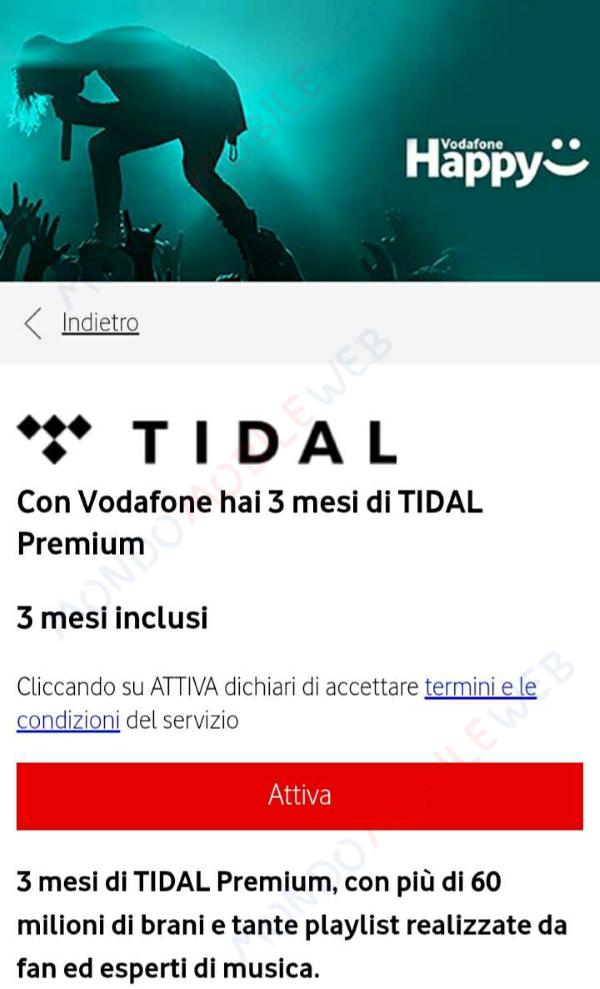Tidal Vodafone Regalo