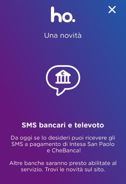 ho. Mobile SMS bancari