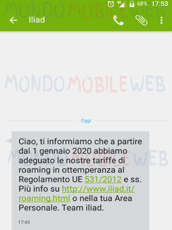 Iliad roaming