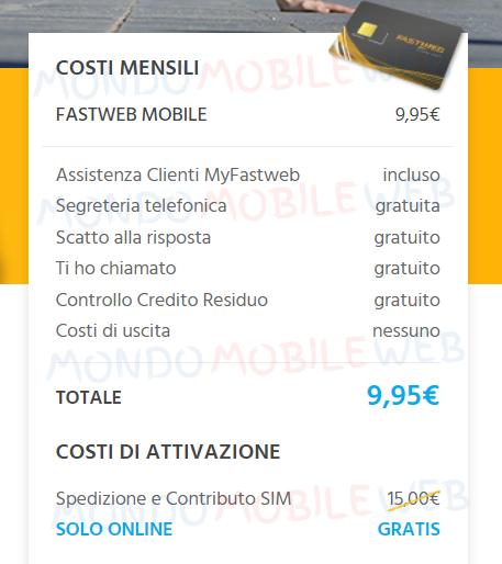 Fastweb Mobile promo online