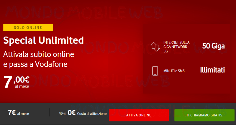 Vodafone Special Unlimited online