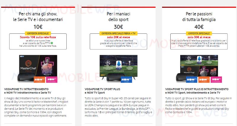 Vodafone pacchetti TV
