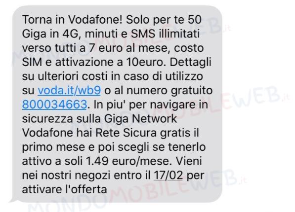 sms winback Torna in Vodafone Numero Verde