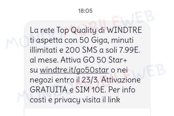 WINDTRE SMS winback