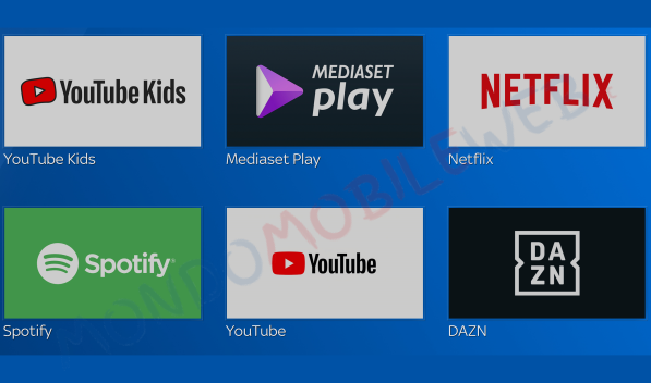 Sky Q YouTube Kids, Netflix, DAZN, Mediaset Play, YouTube e Spotify