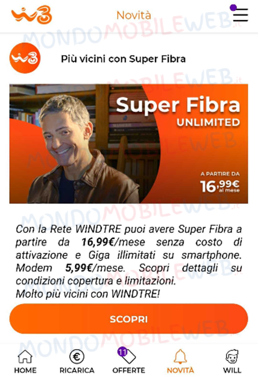 WINDTRE app Giga illimitati