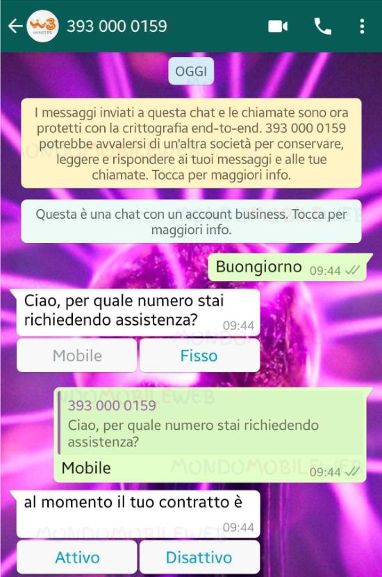WINDTRE WhatsApp servizio clienti