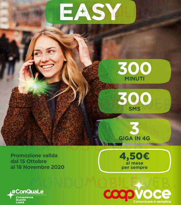 CoopVoce Easy: à partir du 15 octobre 2020 offre 300 minutes, 300 SMS, 3 Giga pour 4,50 euros par mois - MondoMobileWeb.it  - Foot 2020