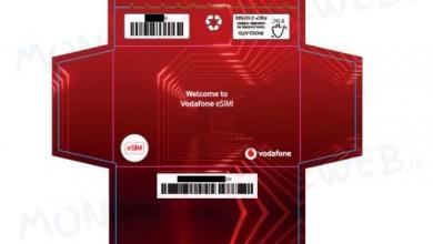 Vodafone eSIM cartoncino