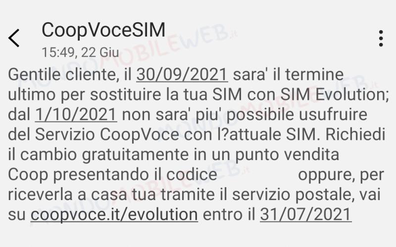 CoopVoce sostituzione SIM